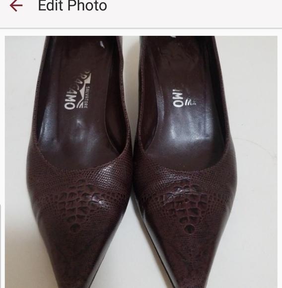 ce321f316 Salvatore Ferragamo Shoes | Kitten Heel Croc Embossed 9b | Poshmark